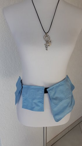 Cinturón de tela negro-azul celeste