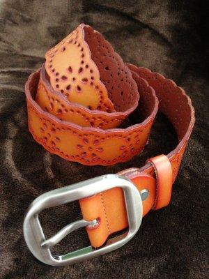 Unbekannte Marke Cinturón de cuero de imitación marrón-coñac