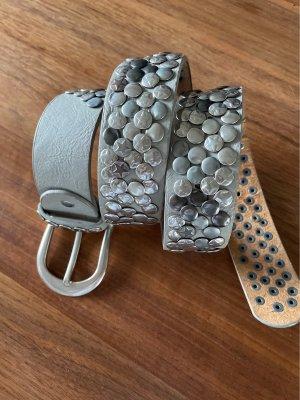 Gürtel mit Nieten grau 80cm/ 4cm echt Leder