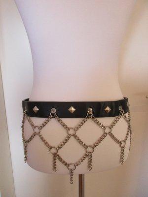 Cinturón de pinchos negro-color plata tejido mezclado