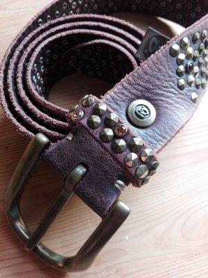 B Belt Cintura borchiata marrone Pelle