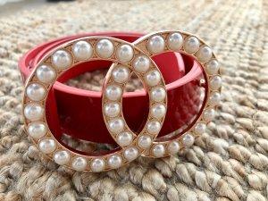 Gürtel mit Perlen Schnalle Ringe Gold Rot neu ASOS Taillengürtel