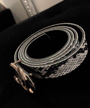 Gürtel mit Schlangenmuster schwarz weiß Gold