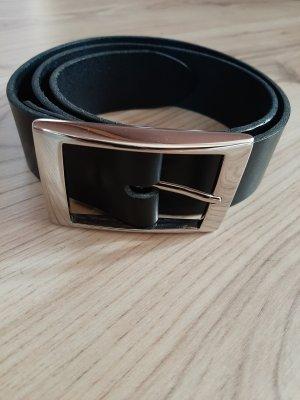 Unbekannte Marke Cinturón de cuero de imitación negro