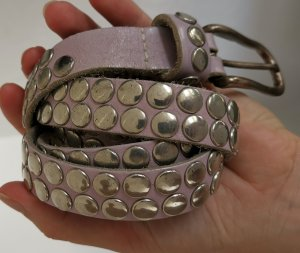 Made in Italy Studded Belt purple-silver-colored leather