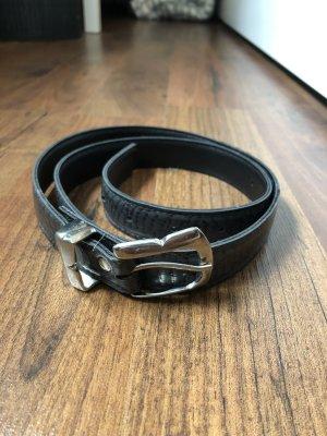 Gürtel schwarz mit silberner Schnalle Schlangenlederoptik
