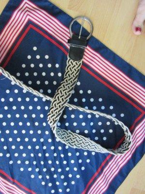 Cinturón trenzado blanco-negro