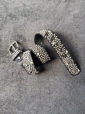 Cinturón de cadera negro-color plata