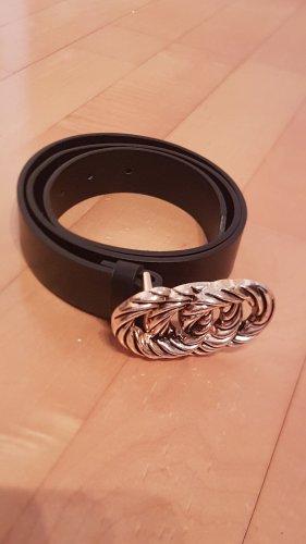 Stradivarius Cinturón de cuero de imitación negro tejido mezclado