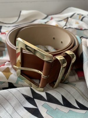 vanila collection Lederen riem cognac-bruin