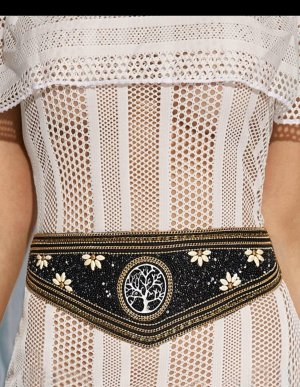 Anthropologie Waist Belt black-gold-colored