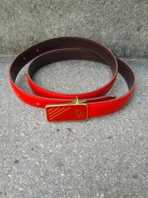 Dior Leather Belt red