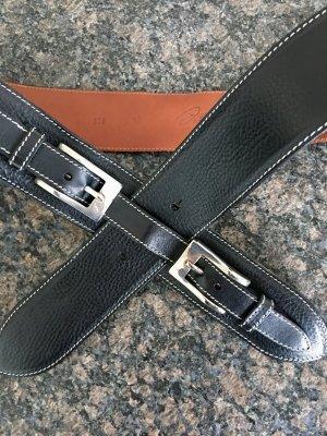 0039 Italy Cinturón de cuero azul oscuro-color plata