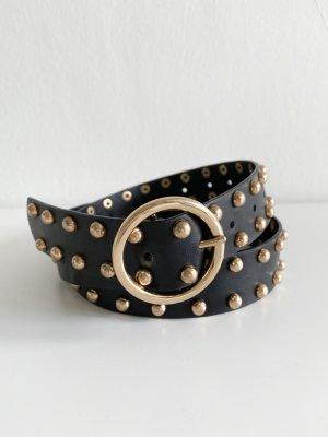 Missguided Cinturón de pinchos negro-color oro
