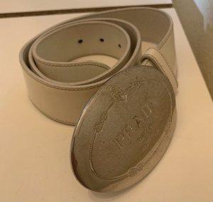 Prada Cinturón de cuero crema-blanco puro
