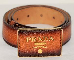 Prada Cinturón de cuero marrón oscuro-coñac Cuero