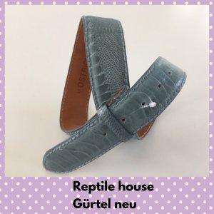 Reptile house Leather Belt cornflower blue leather