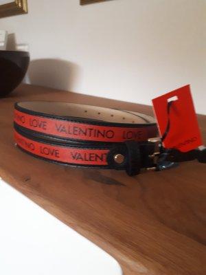 Mario Valentino Pasek z imitacji skóry czarny-czerwony