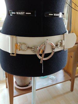 Cinturón de cuero de imitación blanco-color plata