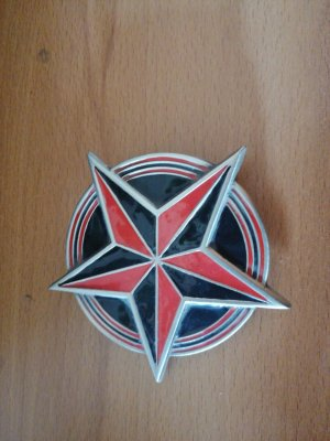 nautical Hebilla del cinturón negro-rojo