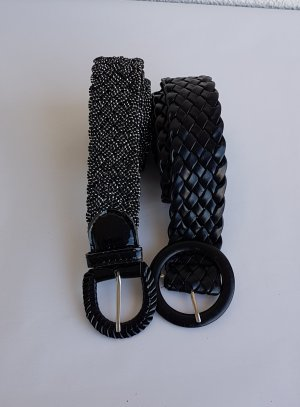 Cintura intrecciata nero-argento