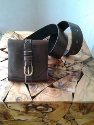 andere Marke Ceinture en cuir brun foncé cuir