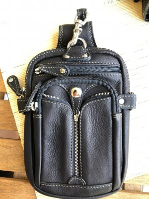 handmade Bumbag black leather