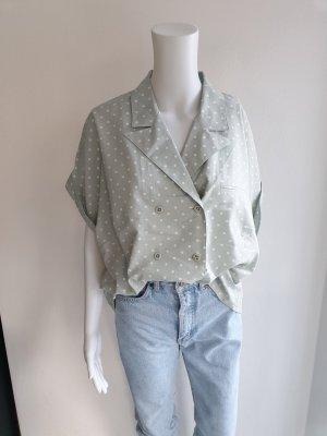 Güschi 48 grün Polkadot Polka dot Hemd True vintage Bluse oversize pulli pullover top Shirt