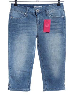 Guess Jeansy 3/4 niebieski Tkanina z mieszanych włókien
