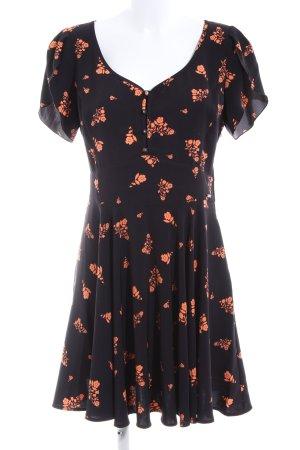 Guess A-Linien Kleid schwarz-hellorange Blumenmuster Casual-Look