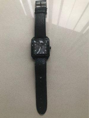Guess Horloge met lederen riempje zwart