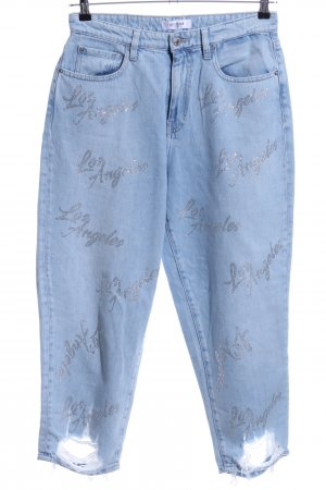 Guess Baggy jeans blauw gedrukte letters casual uitstraling