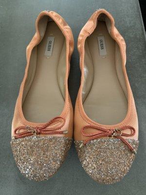 Guess Ballerina's met kant abrikoos zilver