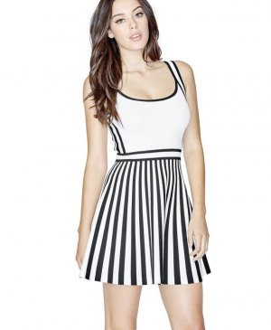 Guess Mini-jurk wit-zwart