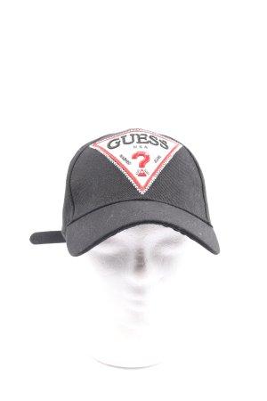 Guess Baseballówka czarny Wyhaftowany logo W stylu casual