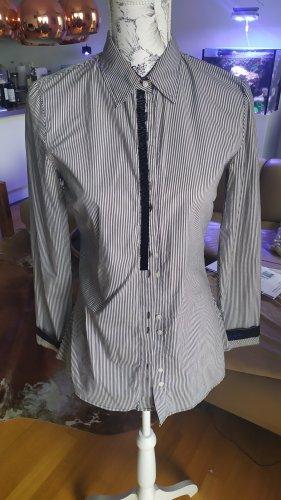 Guess Bluse gestreift schwarz weiß mit Perlen Gr. S