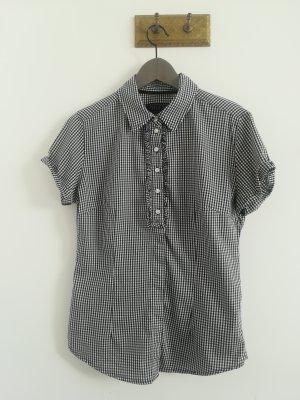 Guess Bluse mit Volants, Vichy-Karo schwarz/weiß