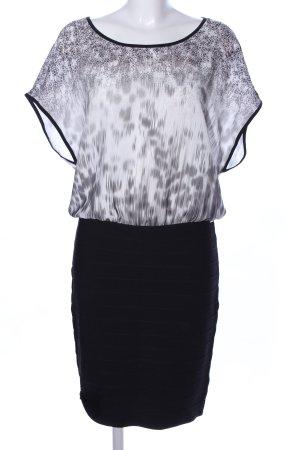 Guess Blusenkleid schwarz-hellgrau abstraktes Muster Business-Look
