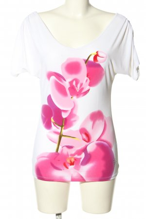Guess by Marciano Kurzarm-Bluse weiß-pink Blumenmuster Casual-Look