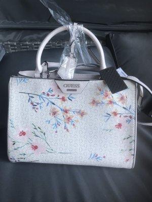 Guess Damen Handtasche Blumen Logo Bag 33x25x15cm weiß rosa