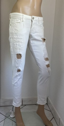 GUESS Damen Ripped Skinny Ultra Low Jeans in weiß Gr. 36(W27 L32)