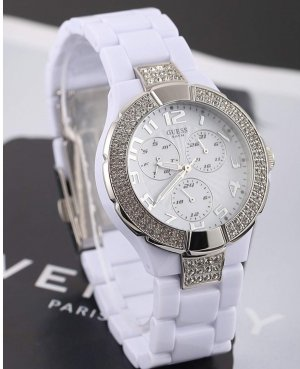 Guess Watch With Metal Strap white-silver-colored