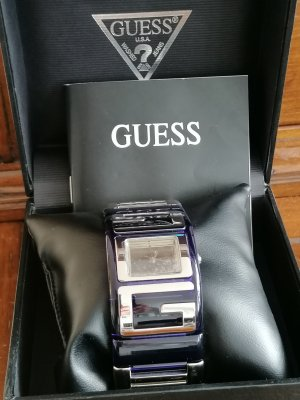 Guess Self-Winding Watch silver-colored-dark blue