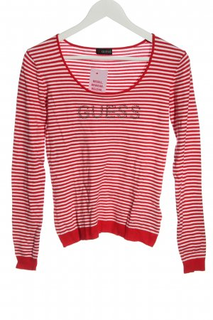 Guess Fine Knit Jumper red-white themed print casual look