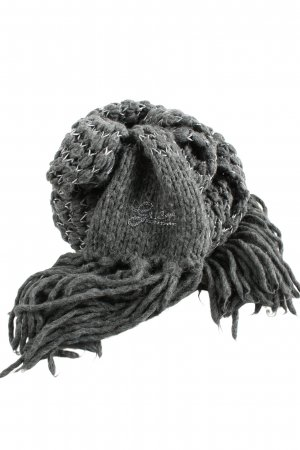 Guess Fringed Scarf light grey-black cable stitch casual look