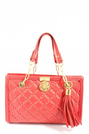 Guess Fringed Bag red quilting pattern casual look