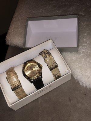 Guess Zegarek ze skórzanym paskiem złoto-brązowy
