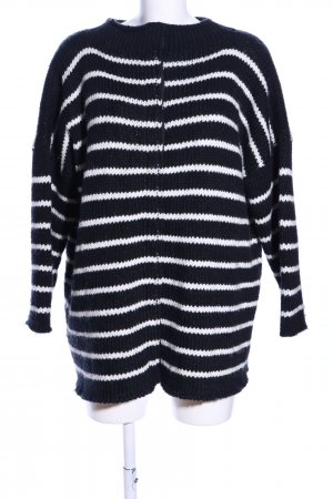 Guess Coarse Knitted Jacket black-white striped pattern casual look