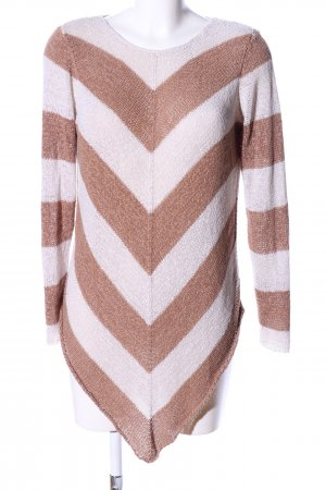 Guess Grobstrickpullover creme-braun Streifenmuster Casual-Look