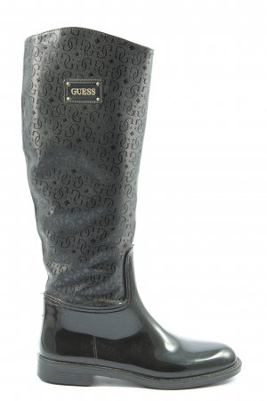 Guess Wellies black printed lettering casual look
